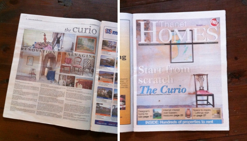 The Curio is published in the Homes section of the Thanet Gazette every friday